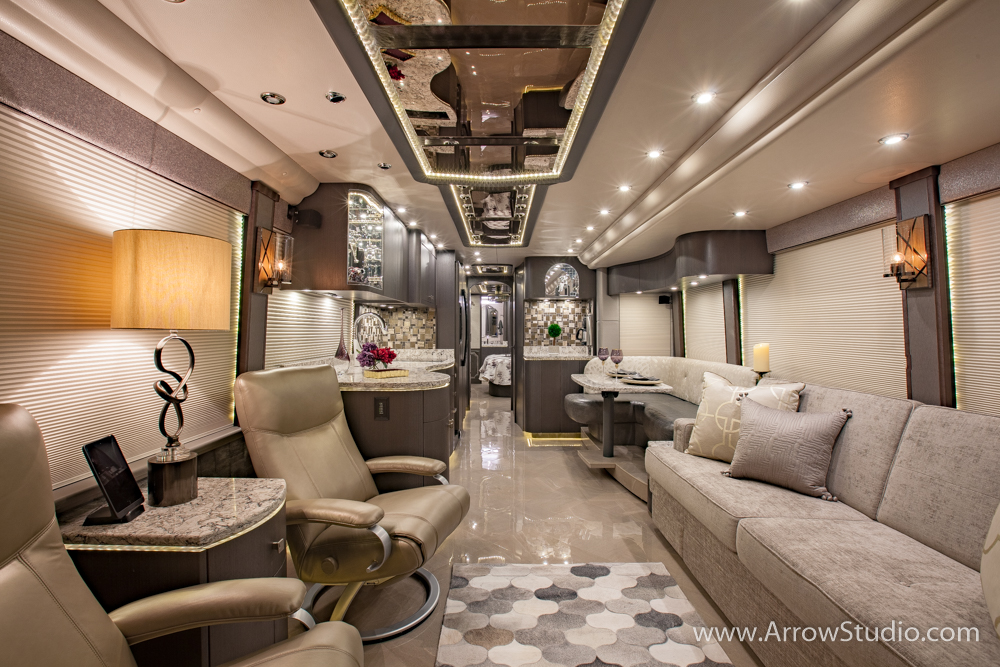 luxury coach interior photography